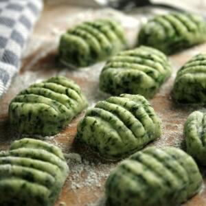 ñoquis de verdura y espinaca